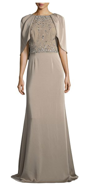 David Meister Capelet Jewel-Bodice Short-Sleeve Gown in taupe - David Meister embellished capelet gown. Round neckline;...