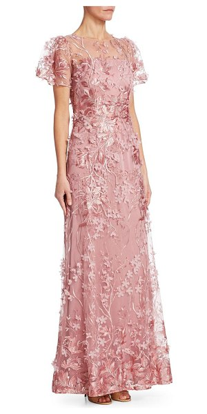 DAVID MEISTER V-Neck Sleeveless Embroidered Tulle Evening Gown W ...