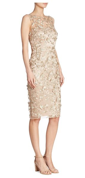 David Meister floral applique dress in gold - Illusion sheath displays floral applique. Illusion...