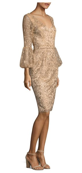 David Meister floral bell-sleeve sheath dress in gold - Sheath dress featuring embroidered lace detail....