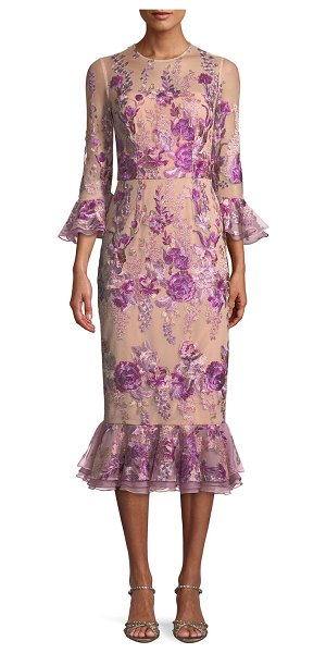 David Meister Floral Embroidered Trumpet-Sleeve Dress w/ Flounce Hem in pink - David Meister floral embroidered dress with flounce hem....