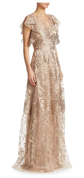 David Meister floral floor-length gown in gold