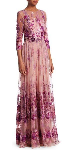 David Meister Floral Quarter-Sleeve Gown | Nudevotion