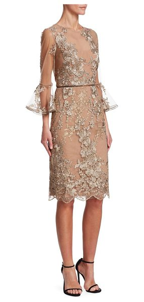 David Meister illusion floral lace sheath dress in gold - Elegant sheath with beautiful metallic floral embroidery...
