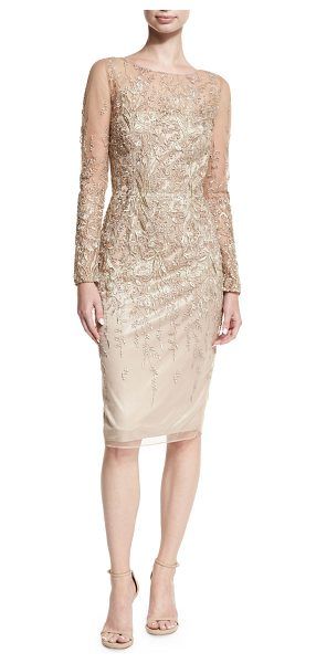 DAVID MEISTER Long-Sleeve Embroidered Metallic Lace Cocktail Dress - David Meister cocktail dress in embroidered metallic...