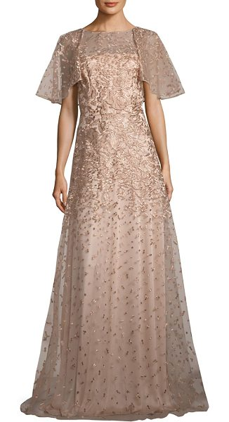 David Meister metallic floral embroidered gown in rose gold - Alluring floral embroidered gown in a shimmery tone....