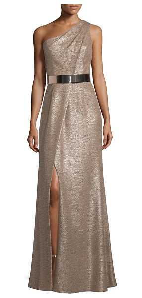 David Meister One-Shoulder Belted Metallic Gown in taupe - David Meister shimmery gown. One-shoulder neckline....