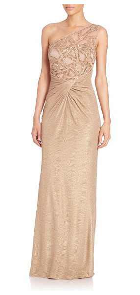David Meister One-shoulder embellished gown in gold - A shimmering sequined bodice dresses up this...