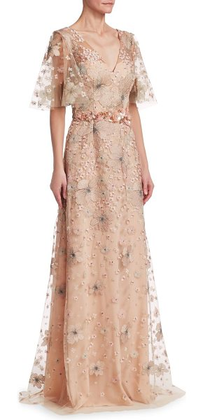David Meister short sleeve floral embellished gown in rose gold - Beautiful v-neck gown with intricate floral...