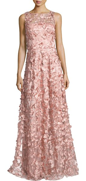 David Meister Sleeveless 3D Floral Tulle Gown in pink - David Meister evening gown in tulle with metallic 3D...