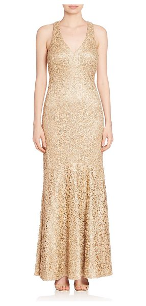 David Meister sleeveless embellished gown in gold
