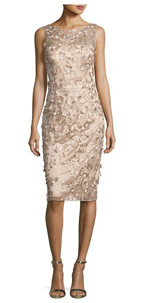 DAVID MEISTER Sleeveless Metallic 3D Floral Cocktail Dress in gold - David Meister metallic cocktail dress with 3D floral...