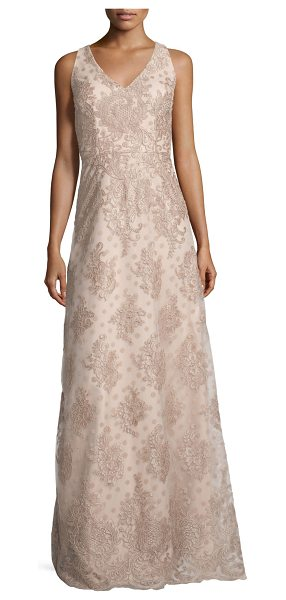 David Meister Sleeveless Polka Dot Lace Gown in nude - David Meister polka dot lace dress. V neckline and back....