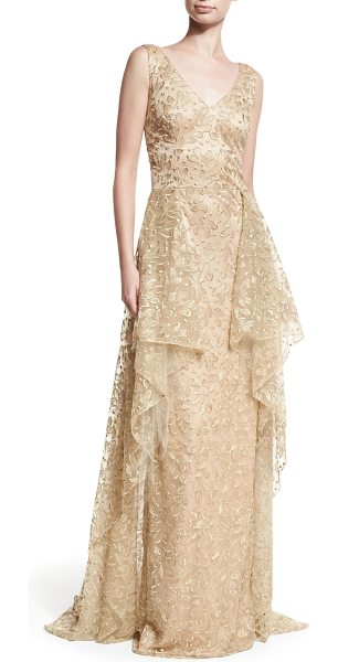 David Meister V-Neck Sleeveless Embroidered Tulle Evening Gown w/ Overskirt in gold - David Meister evening gown in embroidered tulle. V...