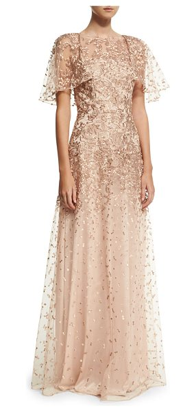 David Meister Wing-Sleeve Embroidered Lace Gown in rose gold - David Meister embroidered lace evening gown. Jewel...