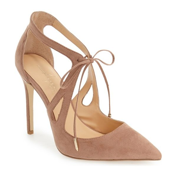 Daya by zen 'aaron' pointy toe pump in blush suede - Gracefully curved straps and a dainty tie closure make...