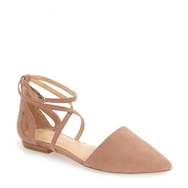Daya by zen 'adrian' pointy toe flat in blush suede - Slim crossover straps and side cutouts underscore the...