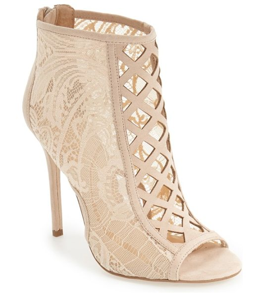 Daya by zen 'angus' lace open toe bootie in nude lace fabric - Daring diamond cutouts trellis up the front of a...