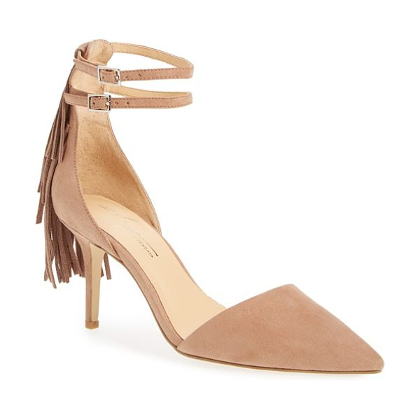 Daya by zen ansley fringe pointy toe pump in blush suede - A pointy toe and a classic d'Orsay profile define a...