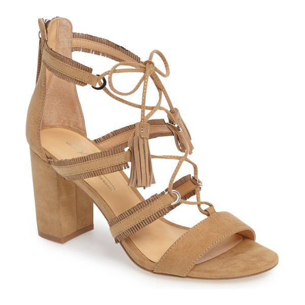 Daya by zen meadow ghillie fringe sandal in sand microsuede - Tasseled ghillie lacing crisscrosses the fringed cage...