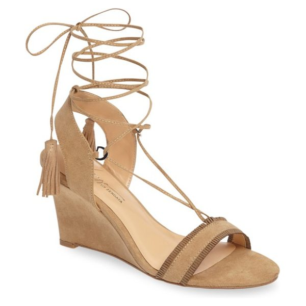 Daya by zen mesa ankle wrap wedge sandal in sand microsuede - Tiny suede fringe details the toe strap of a tapered...