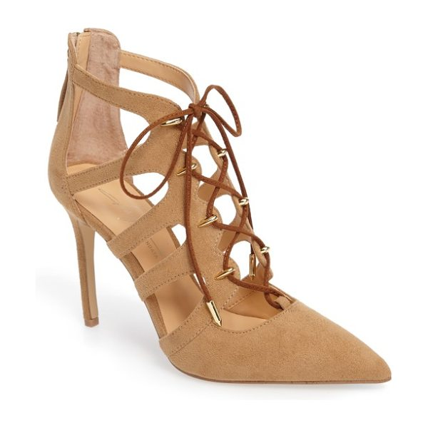 DAYA by zen minnie pump in sand microsuede - Sharp and on-point, this lace-up stiletto is the perfect...