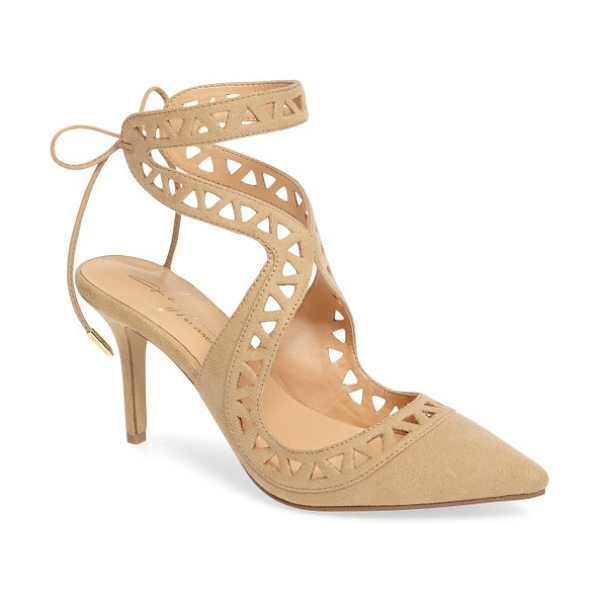 DAYA by zen sutter lace-up pump - Slender straps with triangular cutouts curve up the...