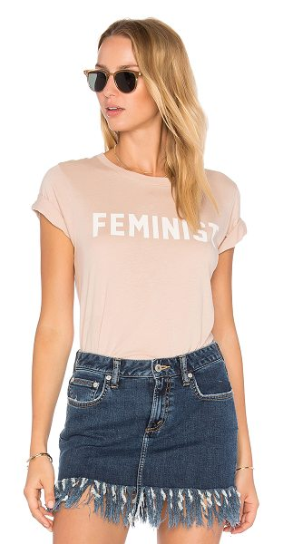 DAYDREAMER Feminist Tee in beige - Cotton blend. Screen print graphics. Jersey knit fabric....