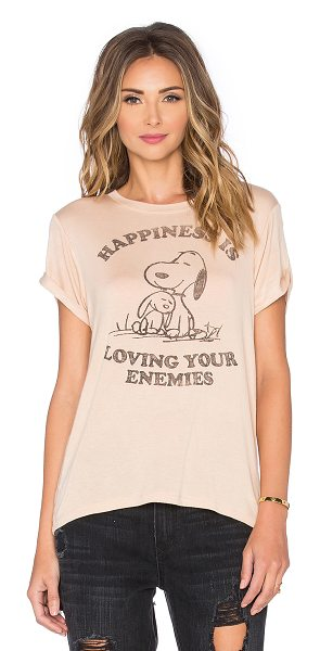 DAYDREAMER Happiness is loving your enemies tee in tan - 96% rayon 4% spandex. Front graphic print. Cuffed...