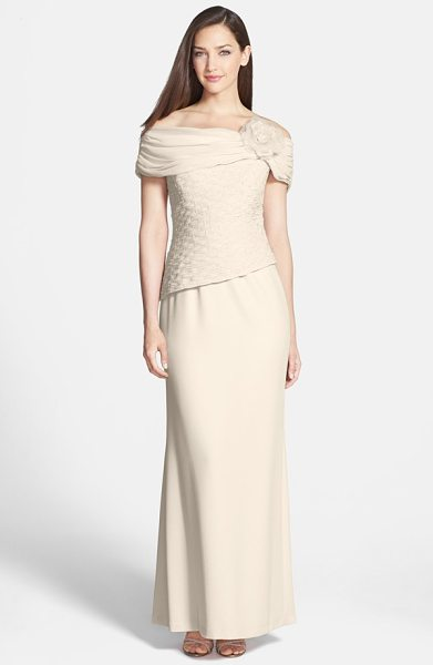 Daymor off the shoulder chiffon & crepe gown in new champagne - A flower-adorned off-shoulder neckline and...