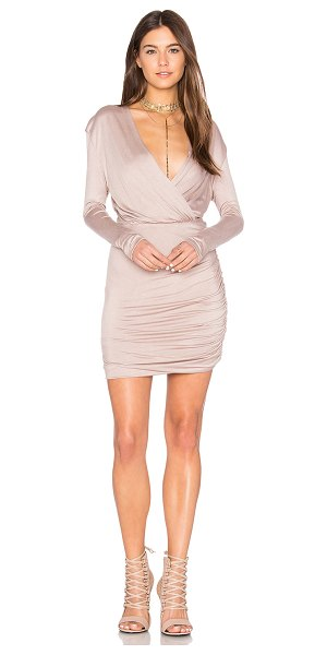 De Lacy Kelsi Dress in taupe - 95% modal 5% spandex. Fully lined. Surplice front....