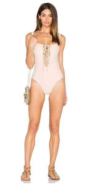 DE LACY Willow one piece - 80% nylon 20% spandex. Hand wash cold. Elastic stretch...