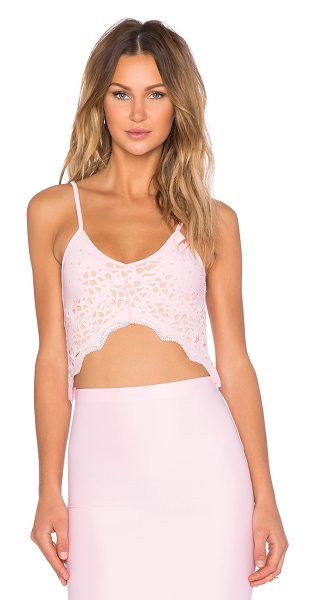 De Lacy X revolve kelia crop tank in pink - 95% poly 5% spandex. Dry clean only. Laser cut-out...