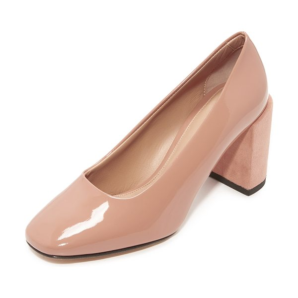 Dear Frances nina classic pumps in blush - Patent leather Dear Frances pumps with chunky...