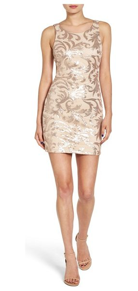 Dear Moon cutout back sequin body-con dress in beige/ blush - A low-cut scooped cutout reveals your back in this...