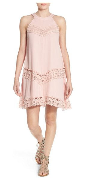 dee elle crochet detail swing dress in pink - Crochet insets deliver boho-chic charm to a romantic...