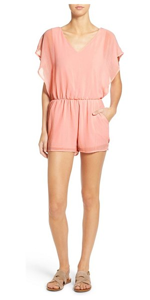 dee elle flutter sleeve romper in light pink - Ethereal flutter sleeves frame a dreamy romper cut with...