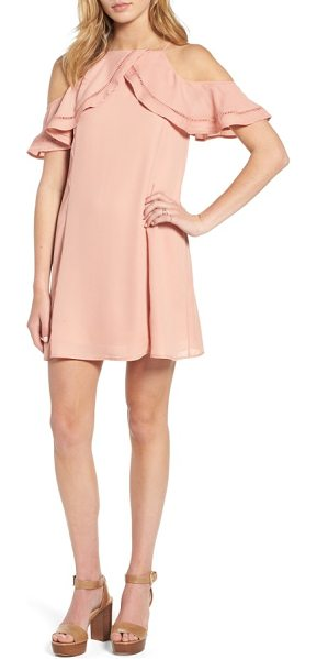 Dee Elly ruffle cold shoulder dress in blush - Draped ruffles lightened up with ladder-stitched insets...