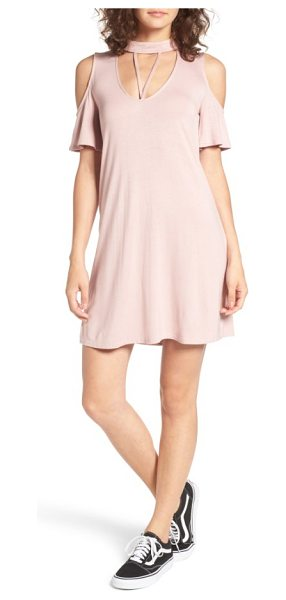 Dee Elly strappy choker t-shirt dress in dusty pink - A strappy cutout and cold-shoulder short sleeves add...