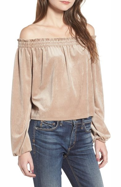 DELACY off the shoulder velvet top in champagne - Perfect for soaking up the sun by day and flirting over...