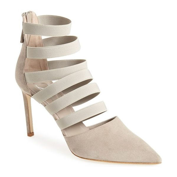 Delman bae pointy toe pump in putty - Laddered elastic bands perfect the fit and modernize the...