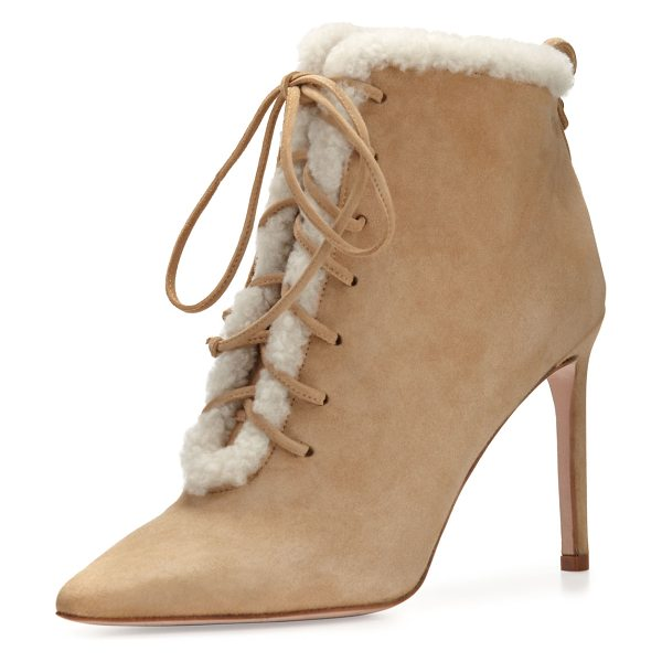 Delman Becca Shearling Lace-Up Bootie in camel/white - Delman kid suede bootie features asymmetric topline for...