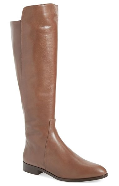 Delman buena tall boot in mink nappa - A stepped topline and leather piecing on the calf accent...