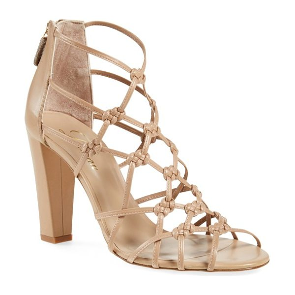DELMAN scandal sandal in sand dune nappa/ calfskin - A sultry, cagey sandal features knotted-leather straps...