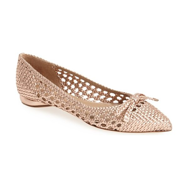Delman shana pointy toe skimmer flat in rose gold leather - A pert bow intensifies the modern elegance of a...