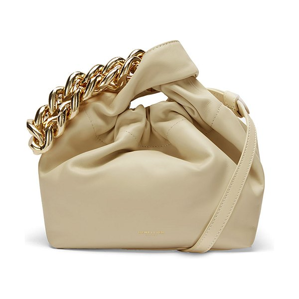 DeMellier Santa Monica Leather Top-Handle Bag w/ Chain in sand smooth