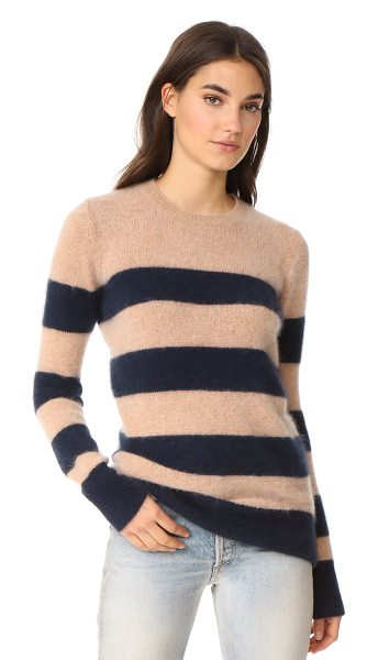 Demylee 10th anniversary yuki sweater in camel/navy - A fuzzy, striped DEMYLEE sweater with a cozy hand. Crew...