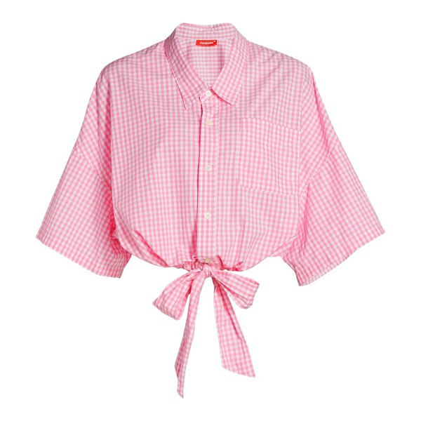 Denimist front-tie short-sleeve cropped shirt in pink gingham
