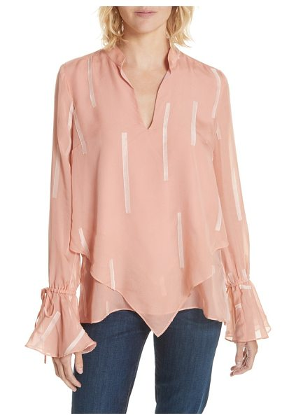 DEREK LAM 10 CROSBY clipped stripe handkerchief silk blend blouse in dusty rose - Dreamy enchantment is ushered in when you arrive in this...