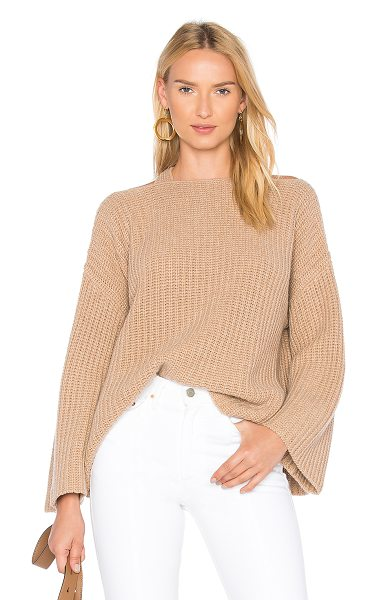 DEREK LAM 10 CROSBY Crossover Pullover in tan - 70% wool 30% cashmere. Dry clean only. Knit fabric....